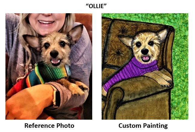 """""""Ollie"""" alcohol ink painting"""