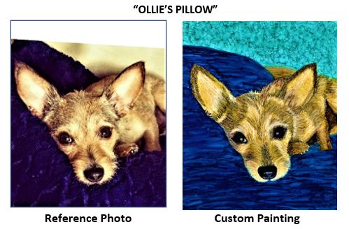 """""""Ollie's Pillow"""" alcohol ink painting"""