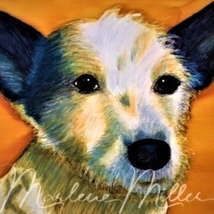 """Pet Portrait painting of """"Oakley"""" in alcohol inks."""