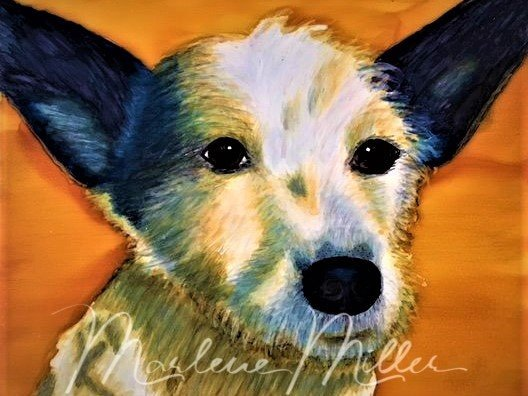 "Pet Portrait painting of ""Oakley"" in alcohol inks."