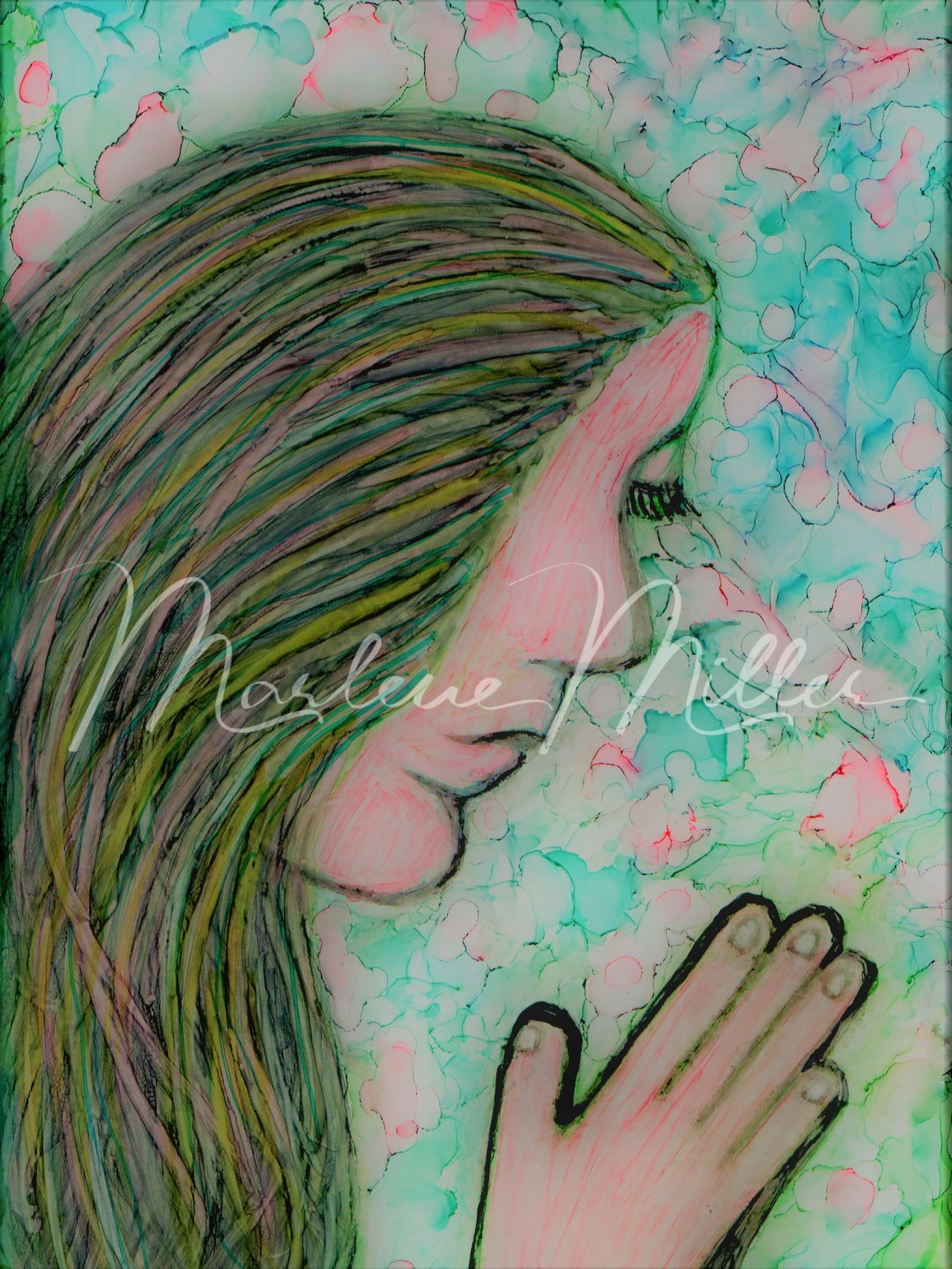 """""""Praying Lady"""" alcohol ink painting"""