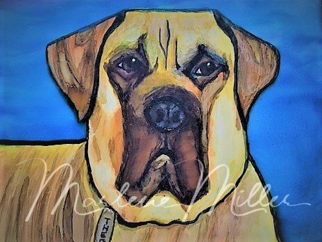 """Pet Portrait painting of """"Theo"""" in alcohol inks."""