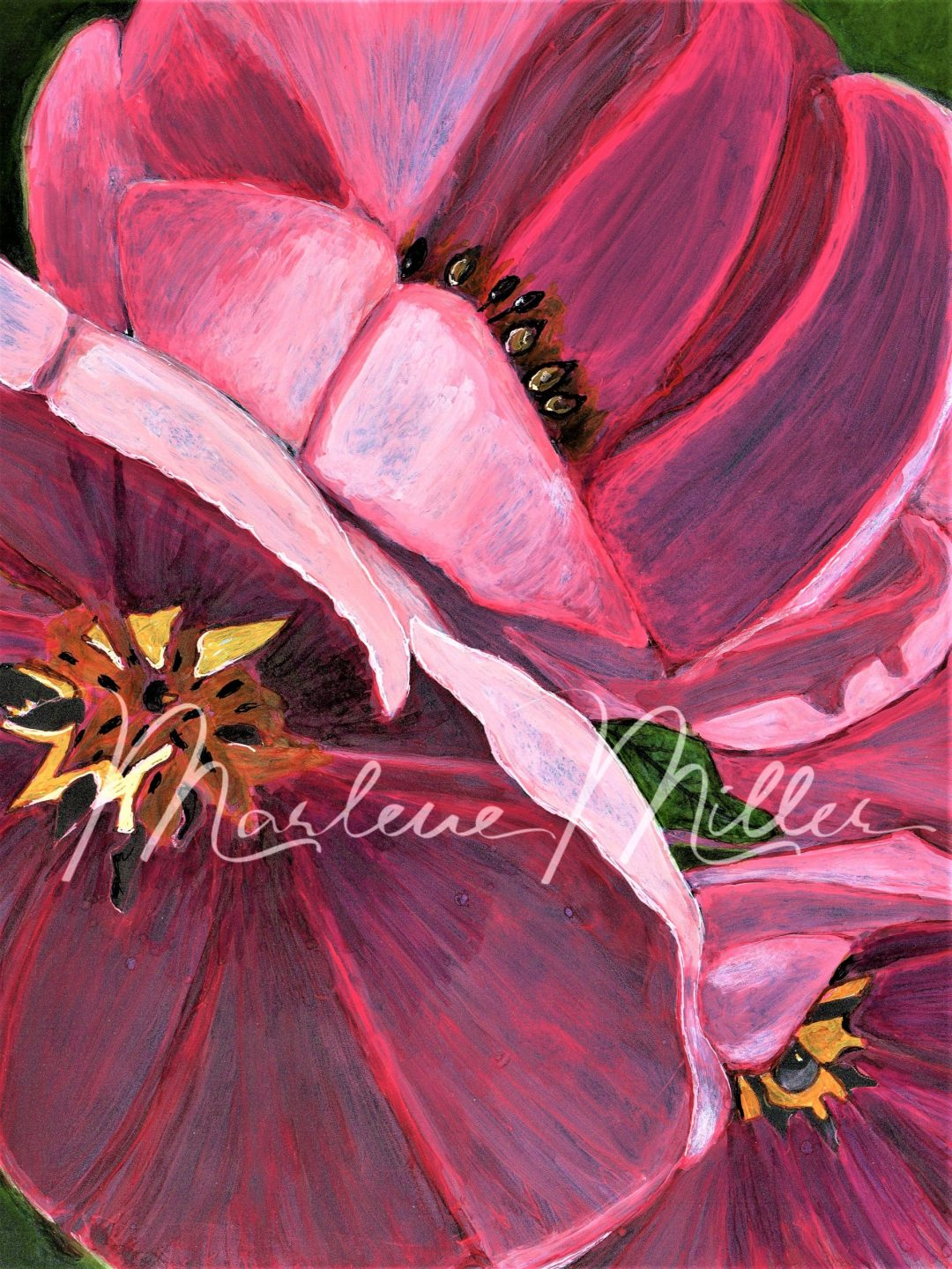"""""""Bloomin' Tulips"""" alcohol ink painting"""