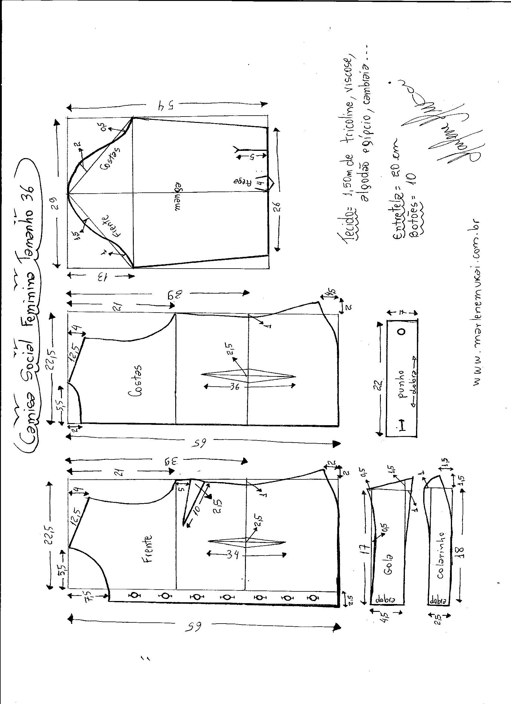 Esquema de modelagem de Camisa Social Feminina tamanho 36. a81b50eed7c59