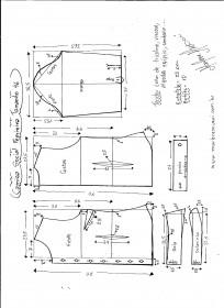 Esquema de modelagem de Camisa Social Feminina tamanho 46.