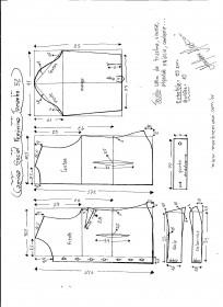 Esquema de modelagem de Camisa Social Feminina tamanho 52.