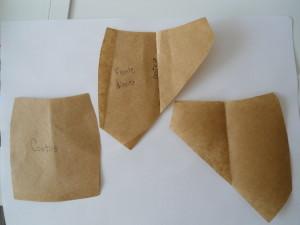 Corte duas partes da frente (direita e esquerda e as costas.