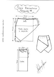 Molde de Saia Assimétrica tamanho 44.