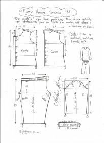 eb22c026f Esquema de modelagem de pijama unisex tamanho 38.