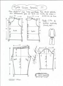 Esquema de modelagem de pijama unisex tamanho 52.