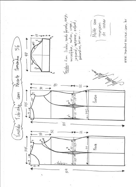 Esquema de modelagem de vestido tubinho com recorte tamanho 56.