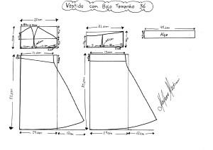 Molde do Vestido com Bojo tamanho 36.