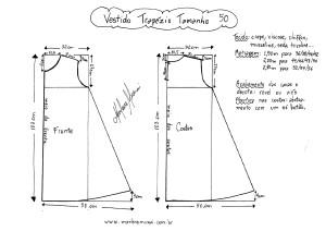Esquema de molde de Vestido Trapézio tamanho 50.