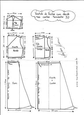 Esquema de modelagem de Vestido com decote nas costas tamanho 50.