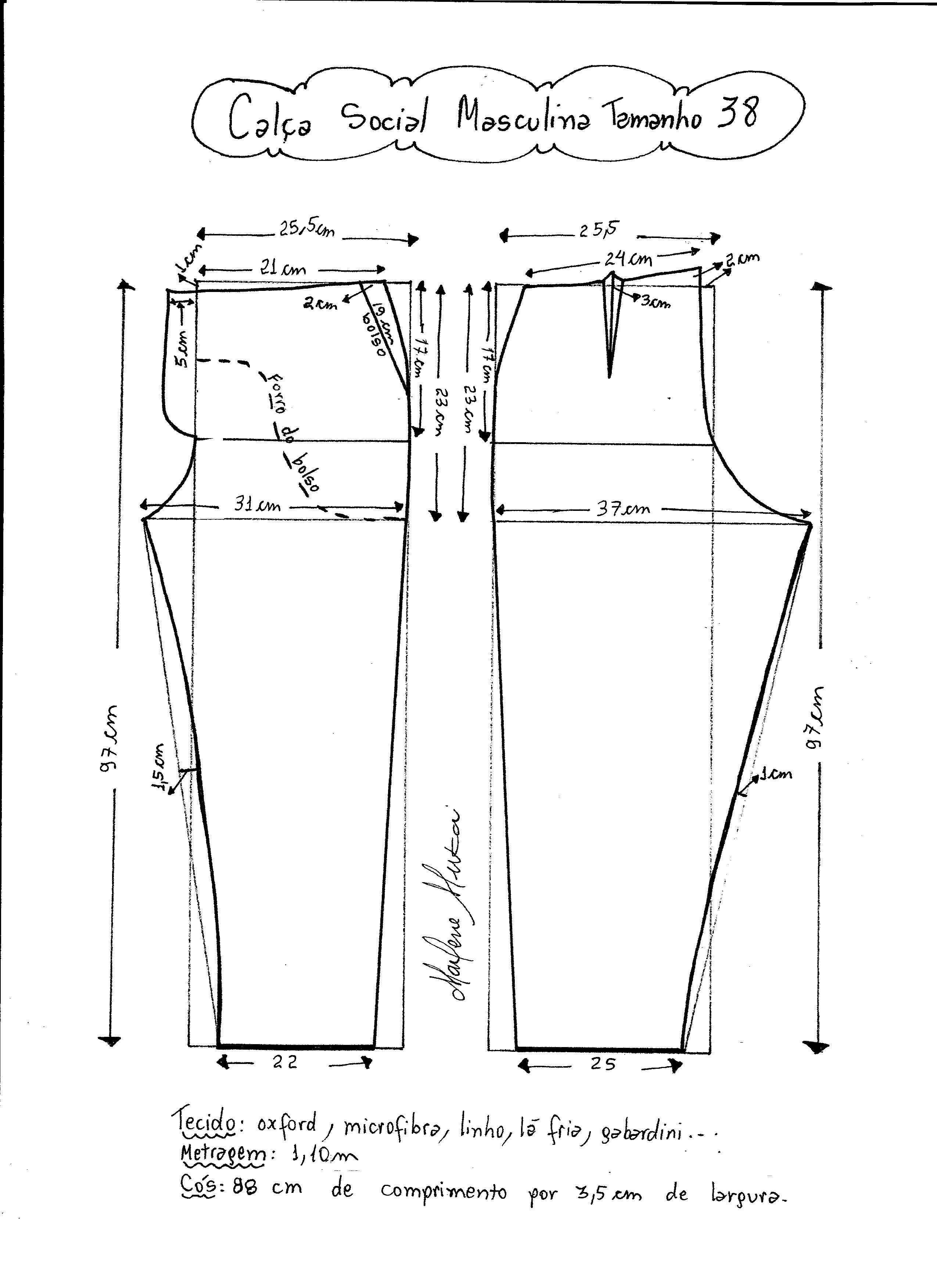 e03e88644 Esquema de modelagem de calça social masculina tamanho 38.