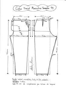 Esquema de modelagem de calça social masculina tamanho 44.