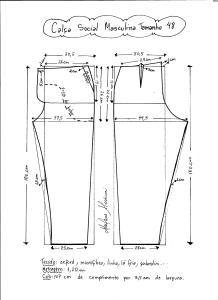 Esquema de modelagem de calça social masculina tamanho 48.