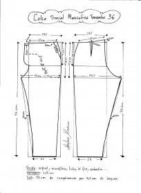 Esquema de modelagem de calça social masculina tamanho 36.