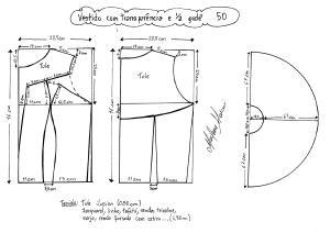 Esquema de modelagem de vestido com transparência godê tamanho 50.
