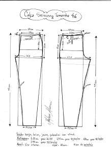 Esquema de modelagem de calça skinny tamanho 46.