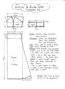 Esquema de Modelagem do Vestido de Alcinha tamanho 52.