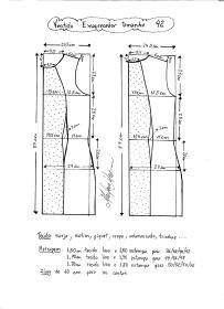 Esquema de modelagem de vestido tubinho que afina a silhueta tamanho 42.