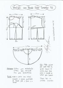 Esquema de modelagem de vestido com renda godê tamanho 46.