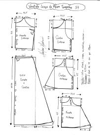 Esquema de modelagem de Vestido Longo com alça e babado tamanho 54.
