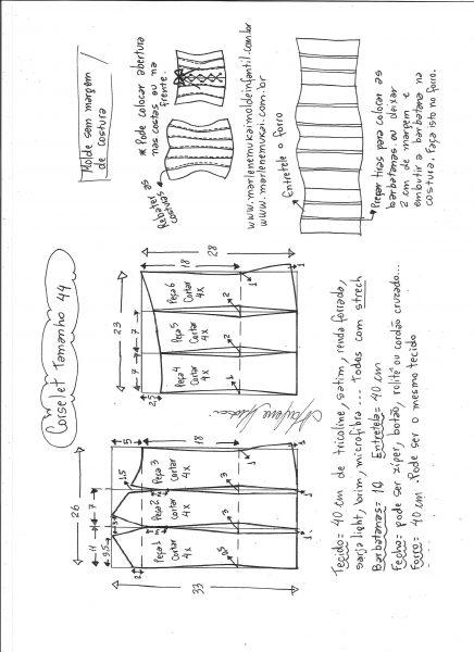 .Esquema de modelagem de corselet  tamanho 44.