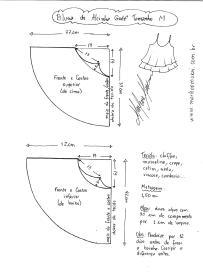 Esquema de modelagem de Rega de Alcinha Godê tamanho M.