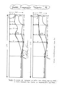 Esquema de Modelagem de Vestido que afina a Silhueta 2 tamanho 48.