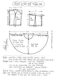 Esquema de modelagem de Vestido de Festa Godê curto tamanho 36.