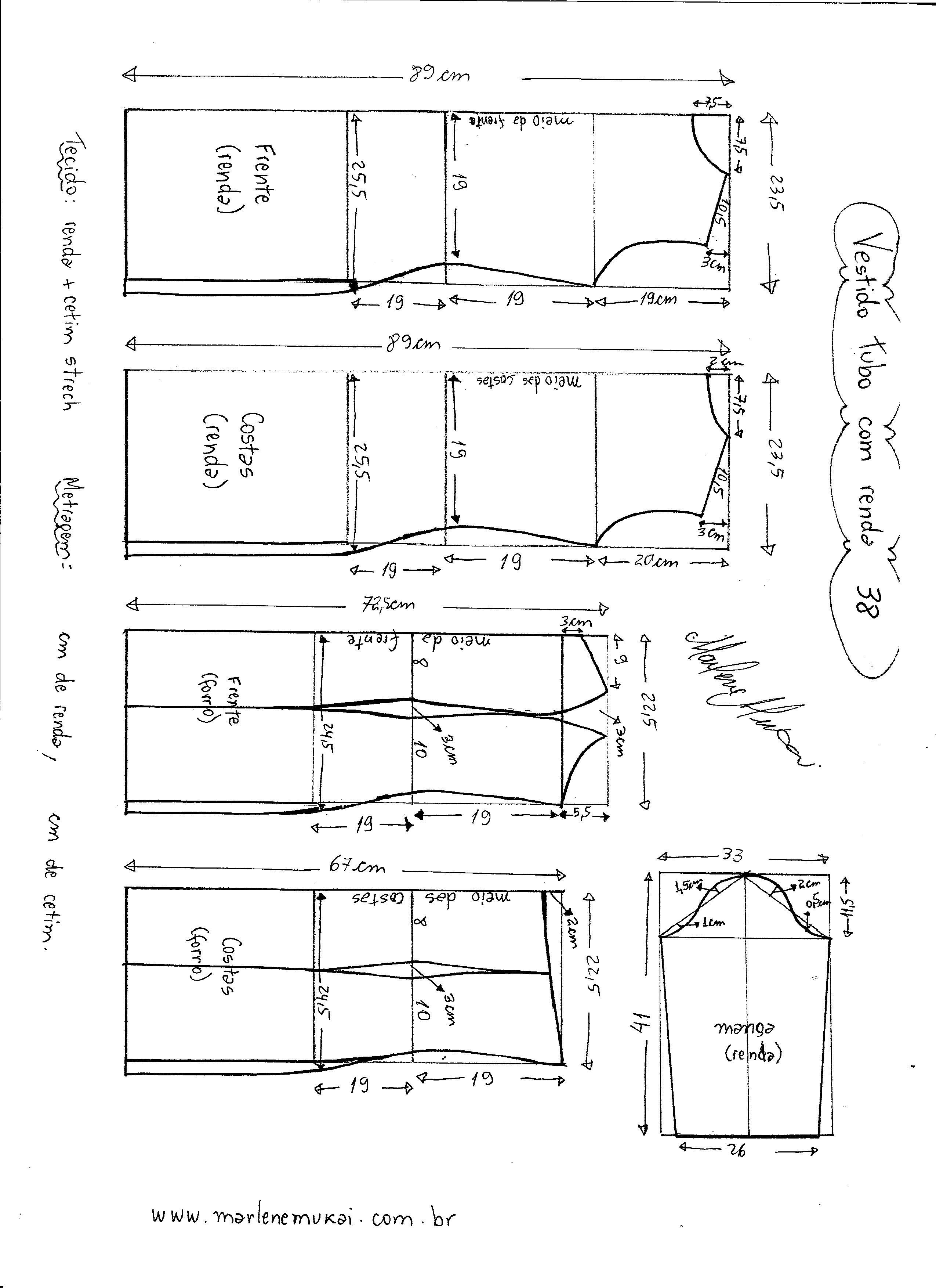 346ad8980e Esquema de modelagem de Vestido Tubinho com Renda e manga 3 4 tamanho 38