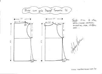 Esquema de modelagem de Blusa com gola Degagê tamanho 46.