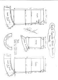 Esquema de modelagem de Vestido Ciganinha Fátima Bernardes tamanho 40.