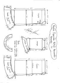 Esquema de modelagem de Vestido Ciganinha Fátima Bernardes tamanho 46.