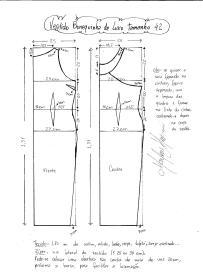 Esquema de modelagem do Vestido Bonequinha de Luxo tamanho 42.