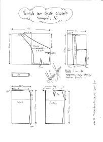 Esquema de modelagem de Vestido com decote Cruzado tamanho 36