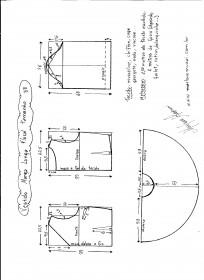 Esquema de modelagem de vestido de manga longa tamanho 38.