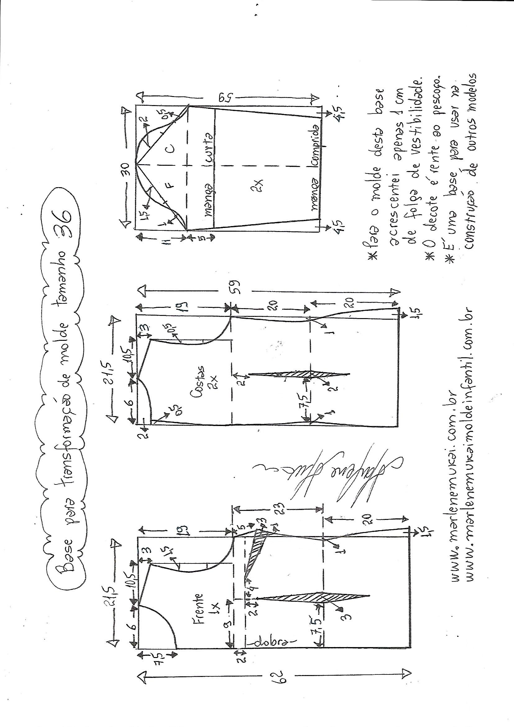 00b524da5b Costura Byrosa  Patrón Base de Blusa femenina para hacer ...