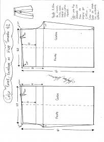 Esquema de modelagem de Calça Pareô, Wrap ou Envelope tamanho 42.