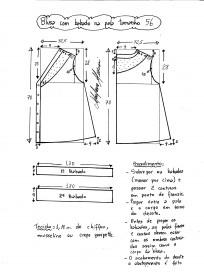 Esquema de modelagem de blusa com pala e babado tamanho 56.