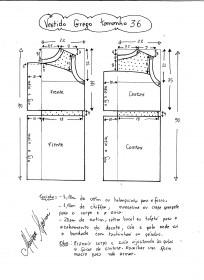 Esquema de vestido de festa estilo grego tamanho 36.