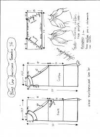 Esquema de modelagem de Blusa com cava americana e drapeado solto tamanho 36.