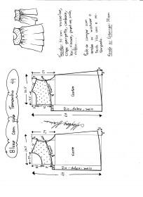 Esquema de modelagem de blusa com pala e renda tamanho 44.