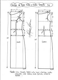 Esquema de modelagem de vestido de festa ombro a ombro tamanho 56.