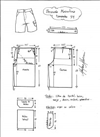 Esquema de modelagem de bermuda masculina tamanho 54.