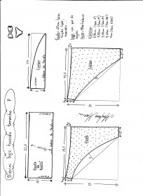 Esquema de modelagem de biquíni com bojo torcido tamanho P.