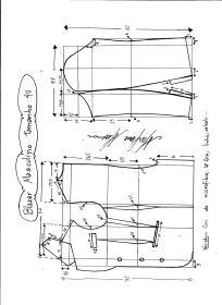 Esquema de modelagem de Blazer ou Paletó masculino tamanho 40.