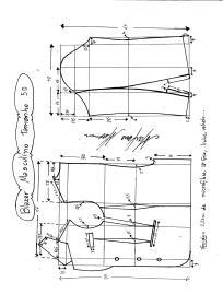 Esquema de modelagem de Blazer ou Paletó masculino tamanho 50.